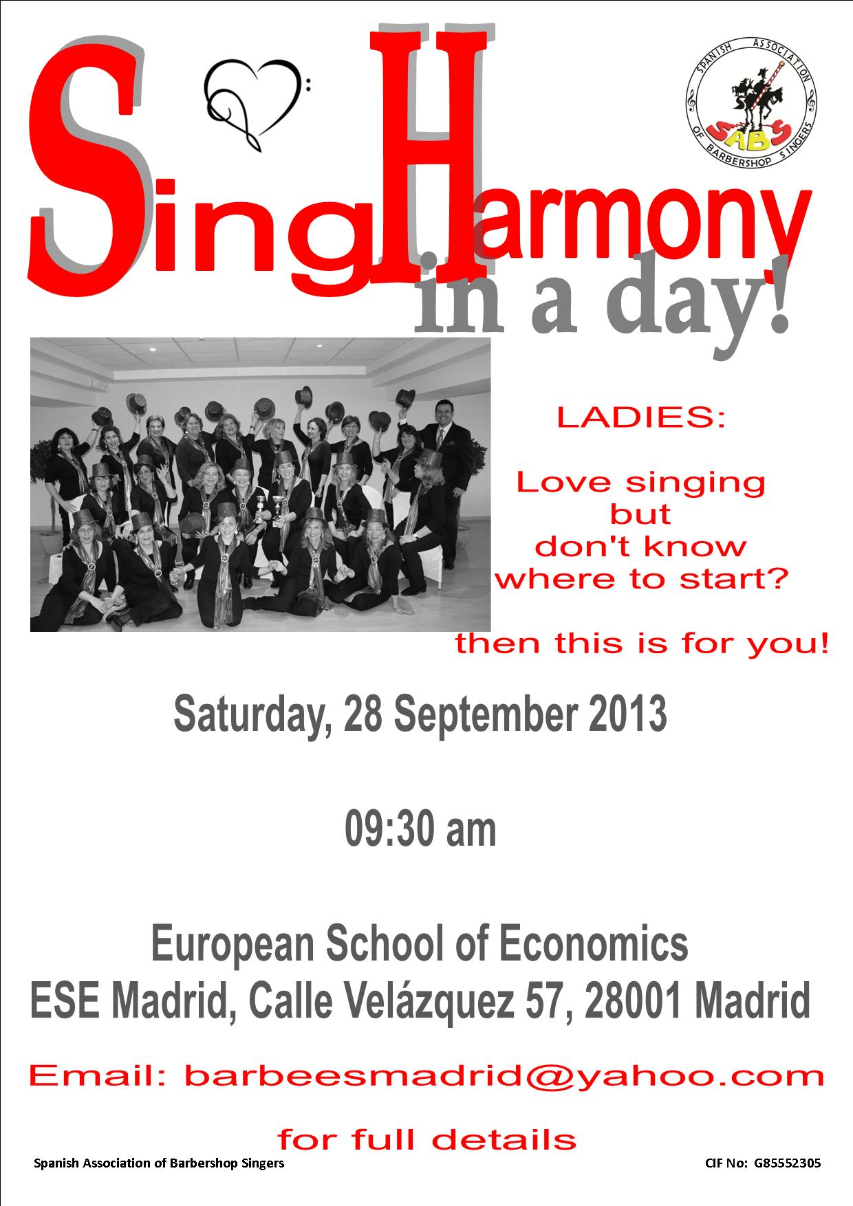 LEARN TO SING POSTER MADRID LADIES 2013